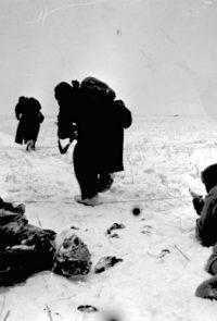 Бойцы Н-ской части Донского фронта выдвигаются на новый огневой рубеж в районе окруженной сталинградской группировки немцев - Январь 1943 г.