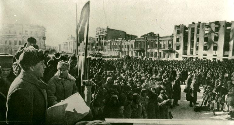 Выступление 1-го секретаря Сталинградского обкома ВКП(б) Чуянова А. С. на митинге, посвящённом разгрому немецко-фашистских войск. - 4 февраля 1943 г.