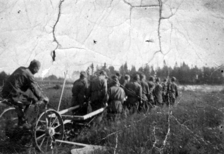 Советские военнопленные, запряженные в плуг - 1941